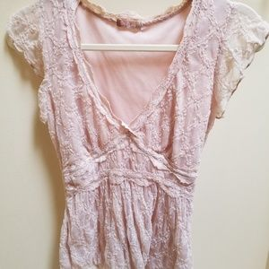 Forever 21 Romantic Lace Champagne Nude Blouse